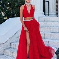 Red Evening Gowns,Two Piece Prom Dress,High Neck Prom Dress,Tulle Prom Dress,Deep V-neck Prom Dress,Hot Sale Prom Dress,2019 Prom Dress F542