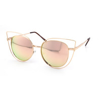 Oversized Rose Gold Round Cat Eye Mirror Sunglasses - Petra