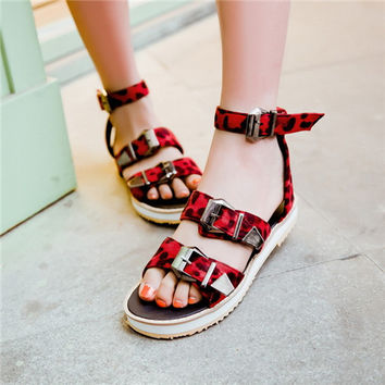 Punk Rock Gothic Summer Designer Girls Camouflage Flat Platform Sandals For Woman Casual Shoes Army Plus Size