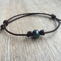 Leather and Freshwater Pearl Anklet