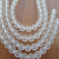 Sea glass beads matte tinted white clear 8mm round 8 inch strand