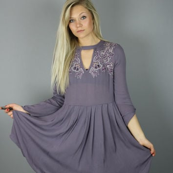 Lilac Embroidered Dress