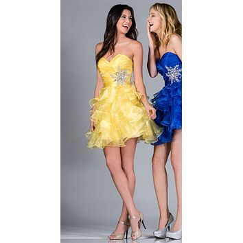 Short A Line Poofy Ball Gown Yellow Sweetheart Organza