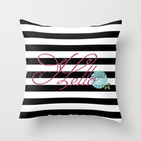 Modern Chic Floral Hello Throw Pillow by Doucette Designs
