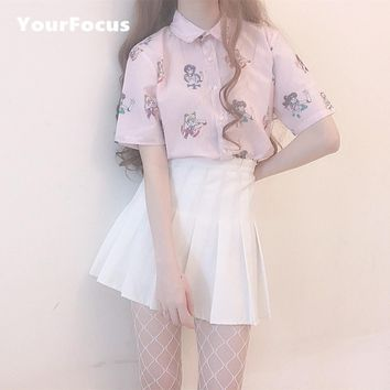 YourFocus 2017 summer new Japan kawaii cute vintage cartoon Sailor Moon print shirt in pink and white women loose tops