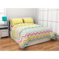 7pc Adorable Girl Yellow Pink Aqua Green Reversible Chevron Full Set (7pc Bed in a Bag)