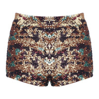 Colorful Sequin-Decoed Shorts