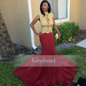 Cap Sleeve Red Prom Dresses Sheer High Neck Gold Lace Top Stretch Satin Long Custom Made Girl Mermaid African Prom Dress 2017