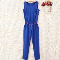2014 New Summer OL Plus Size Women Clothing Slim Pleated Sleeveless Chiffon Fashion Casual Jumpsuit Free Shipping LY247