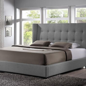 Favela Gray Linen Modern King Bed-Upholstered Headboard
