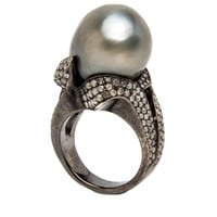 Swirl Pave Pearl Ring