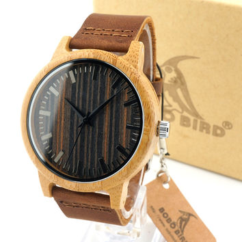 BOBO BIRD Fashion Men's White Maple Wood Watches With Genuine Leather Band Luxury Wood Watches for Men Best Gifts Item