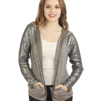 Sequin Sleeve Hooded Sweater