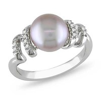 Pink Cultured Freshwater Pearl and Diamond Swirl Ring in Sterling Silver - View All Rings - Zales