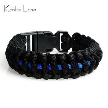 Keisha Lena Outdoor Travel Camping Thin Blue Line Black Braided Cobra Weave Plastic Buckle Paracord Survival Bracelet Police