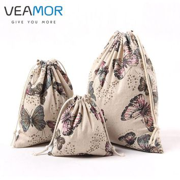 VEAMOR Butterfly Printed Storage Bags Cotton Canvas Pouch Drawstring Bags Children Small Candy Gift Bags 3pcs/set WB160