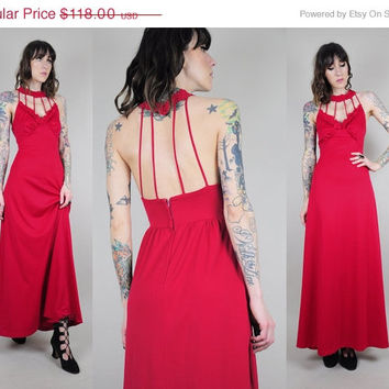 MAJOR SALE // CUT Out Cage vtg 70's maxi dress Open back hippie raspberry red Crochet lace full sweep