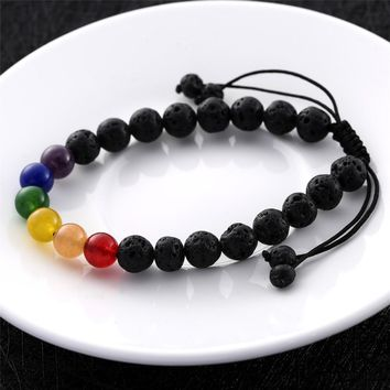 FREE Pride Rainbow Bracelet Made with Natural Lava Stone