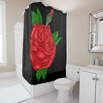 Red Rose Art Print Shower Curtain