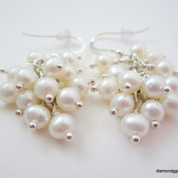 White Freshwater Pearl and Sterling Silver Cluster Earrings Women Dangle Earrings Handmade Formal and Informal Gatherings Fine Jewelry