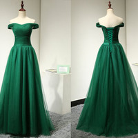 Emerald Green Evening Dress for Weddings Long Fashion Simple Elegant Formal Off the Shoulder Tulle Formal Gown Lace Up Long Prom Dress