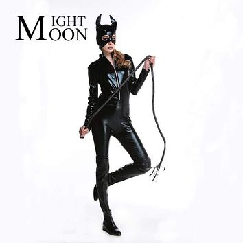MOONIGHT Adult Costume Cat Women Synthetic Leather Jumpsuit Night Prowler Sexy Catwoman Catsuit Black Cat Halloween Costume Macchar Cosplay Catalogue