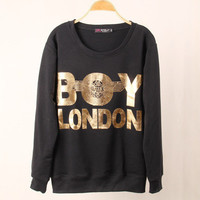 SIMPLE - Boy London Print Black Round Neck Women Casual Sweatshirt Shirt Top blouse T-shirt b4151