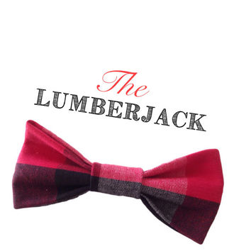 LUMBERJACK - buffalo plaid, buffalo plaid bow tie, holiday bow tie, fall childrens clothes, accessory, lumberjack bow tie, birthday outfit