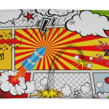 Bath Mat, Set Of Retro Comic Book Design Elements Speech And Thought Bubbles