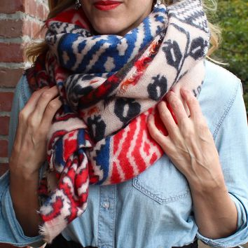 Monogrammed Blanket Scarf - Colorful Boho Pattern