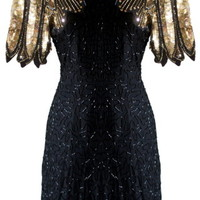 Winged Warrior Dress | Black Gold Sequin Party Dresses | Rickety Rack
