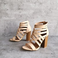 strappy stacked heel sandals - rose