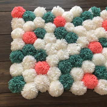 Nursery Rug nursery decor baby photo backdrop newborn photo props yarn pom pom accent rug bohemian rug pom pom rug baby shower gift yarn pom