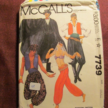 Sale Uncut 1980's McCall's Sewing Pattern, 7739! Small/Women's/Misses/Men's/Bolero Jackets/Genie Costume/Vampire Dracula Costumes/Pirate/Adu