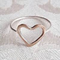Yellow Gold and Sterling Silver Heart Ring - Gold Fill Ring - Delicate Ring - Promise Ring - Gift for Girlfriend - Valentine's Day Gift