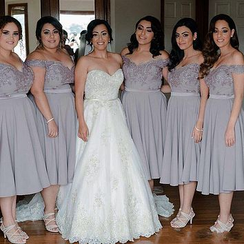 2017 Off Shoulder Grey Bridesmaid Dresses Tea Length A Line Crystal Beaded Bridesmaids Plus Size Formal Wedding Party Gowns B35