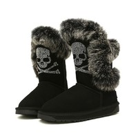 ZLYC Fashion Skeleton Rabbit Fur Trim Mid Calf Boots for Women