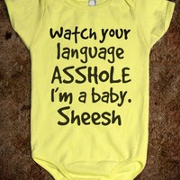 Watch your language-Unisex Lemon Baby Onesuit 00