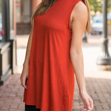 Orange Sleeveless Plain A-line Dress