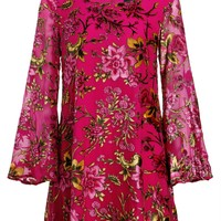 Womens Flower Power Boho Bell Sleeve Dress with Floral Velvet Details