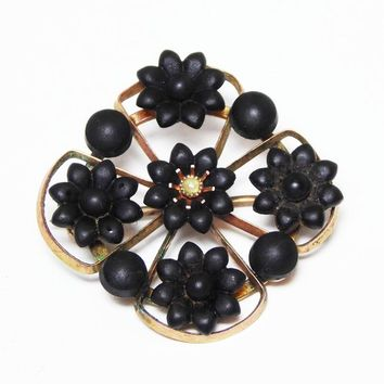 Victorian Black Mourning Pin, Petite Rose Gold Setting with Matte Black Beads and Flowers, Vintage Mid 1800s Jewelry, Black Flower Brooch