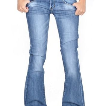 Cindy.H Women's Faded Flared Hipster Bootcut Stretch Jeans with Frayed Leg Ends