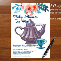 Tea Party Baby shower invitation, floral invitation, printable, shower, social media, facebook, 5x7 personalized invitation, Bridal shower