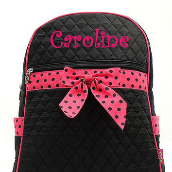 Black and Pink Polka Dot Monogrammed Backpack  Monogram Quilted Backpack  Personalized Backpack