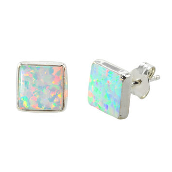 White Opal Stud Earrings Sterling Silver 9mm Square