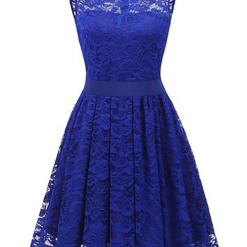 Women's Floral Lace Bridesmaids Dress Short Prom Party Dress