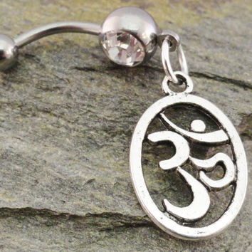 Belly Button Ring Silver OHM OM Barbell Navel by MidnightsMojo