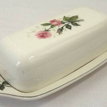 Pink Roses Butter Dish, Shabby Cottage Kitchen Tableware, Vintage Pottery Quarter Pound Covered Butter Tray