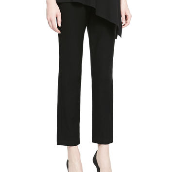 Washable Stretch-Crepe Ankle Pants, Black, Size: