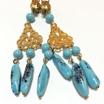 Gold and Blue Chandelier Earrings, Mottled Art Glass, Filigree Goldtone, Very Long Earrings, Clip On Style, Vintage Jewelry